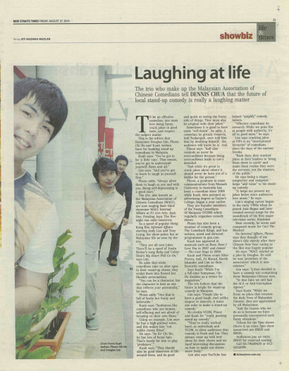 Laughing at life – The New Straits Times 2010