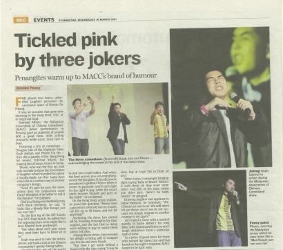 Tickled pink by three jokers – The Star Metro 2011