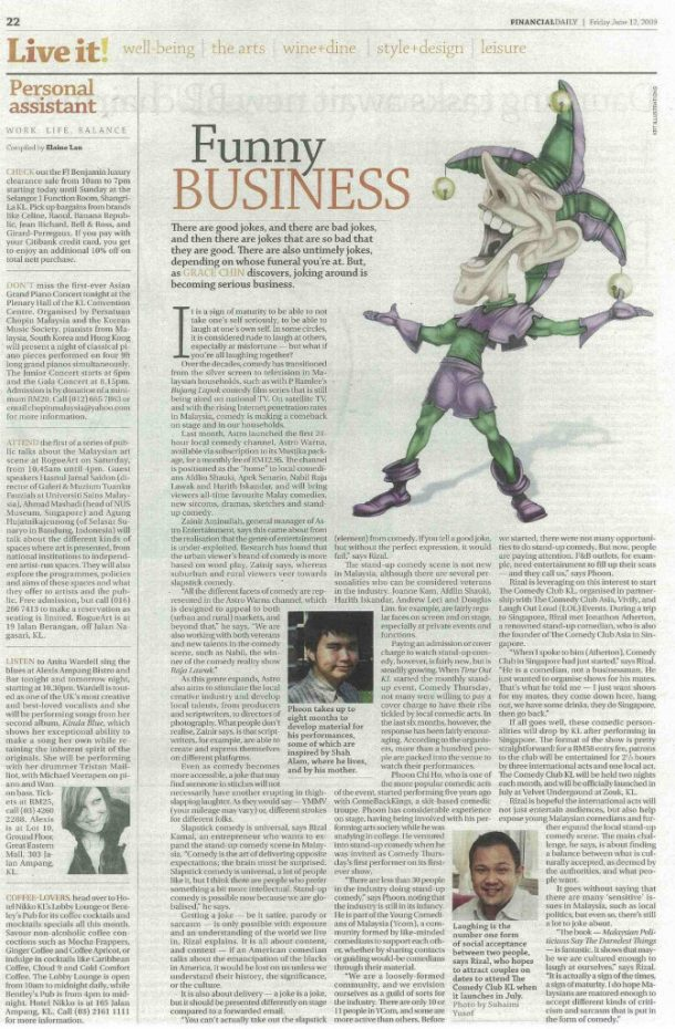 Funny Business – The Edge Financial Daily 2009