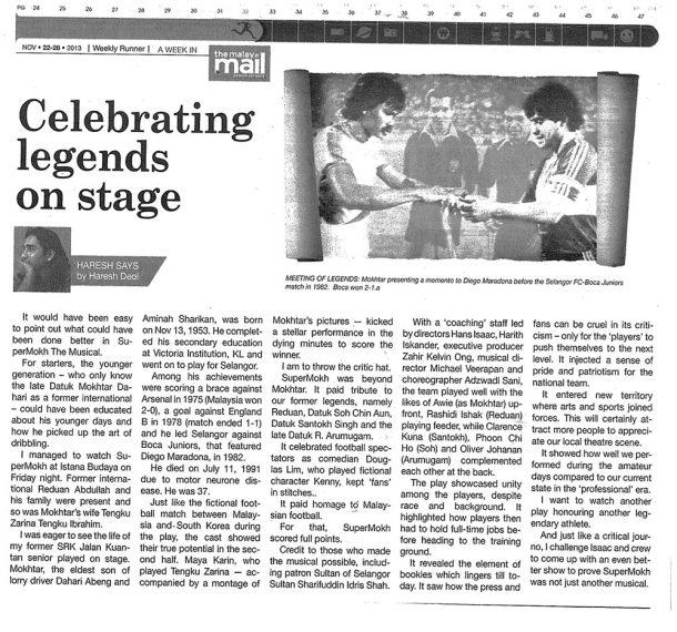 Celebrating legends on stage – Malay Mail 2013